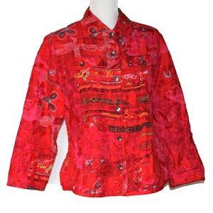 Chico's 100% Silck Red Printed Jacket Blazer M